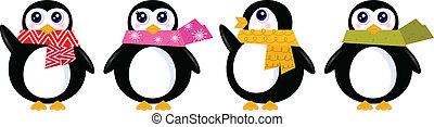 Süßer Retro-Winter Pinguin, isoliert auf weißem Vektor.