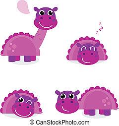 Süßer rosa Dinosaurier, isoliert auf weiß gestellt