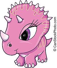 Süßer rosa Dinosaurier-Vektor.