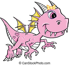 Süßer rosa Mädchen-Drachenvektor