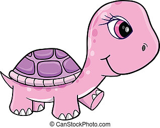 Süßer rosa Mädchen-Schildkrötenvektor