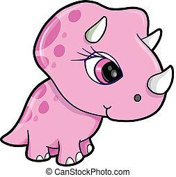 Süßer rosa Triceratops-Dinosaurier