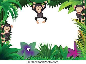 Süßer Schimpanse im Dschungel.