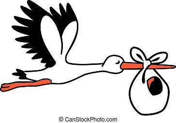 Süßer Storch mit einer Babytasche.