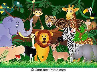 Süßer Tier Cartoon im Dschungel