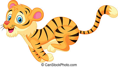 Süßer Tiger Cartoon läuft.
