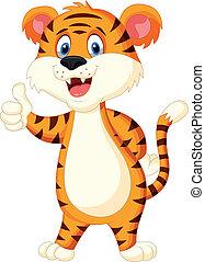 Süßer Tiger-Zeichen- Daumen hoch