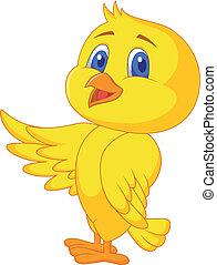 Süßer Vogel winkt.
