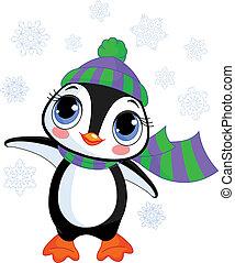 Süßer Winterpinguine mit Hut und S