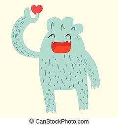 Süßer Yeti Cartoon Doodle.