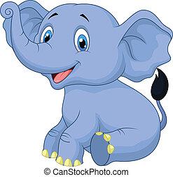 Süßes Baby-Elefant-Cartoon sitzen.