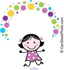 Süßes Doodle-Mädchen jongliert mit Blumen