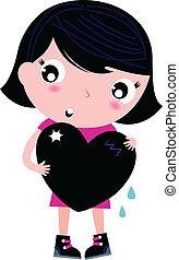 Süßes Emo-Mädchen, das auf weißem Herzen liegt