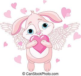Süßes Kaninchen mit Herz.