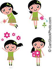 Süßes kleines Mädchen mit Frühlingsblumen, isoliert auf weiß.