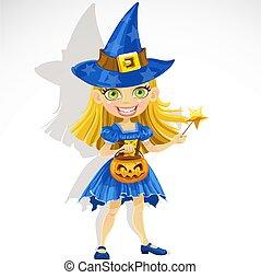 Süßes kleines Mädchen, verkleidet als Hexe