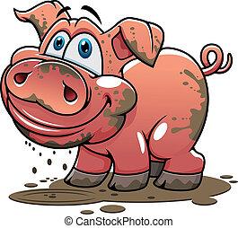 Süßes, kleines schmutziges Karikaturenschwein.
