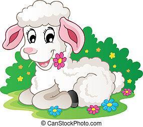 Süßes Lamm mit Blumen