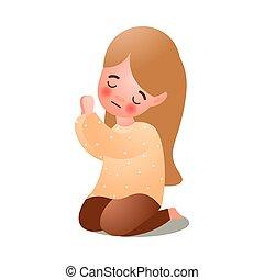 Süßes langes Haarmädchen betet Gott