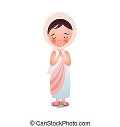 Süßes Mädchen bleibt und betet Gott