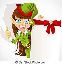 Süßes Mädchen, der Weihnachtself