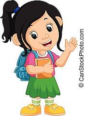 Süßes Mädchen geht in den Schultrickfilm.