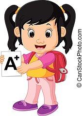 Süßes Mädchen geht zur Schule.