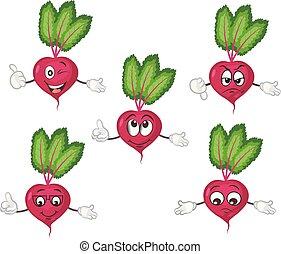 Süßes Rübenzeichen. Kartoon Vektorgrafik