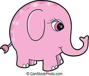 Süßes rosa Mädchen Elefantentier-Viertel
