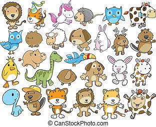 Süßes Tiervektor-Illustrationsset