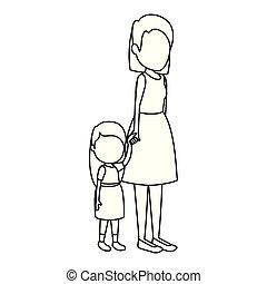 Süßes und kleines Mädchen mit Mutterfiguren.