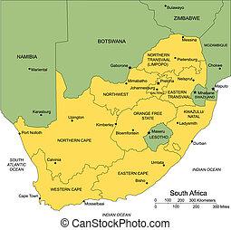 südafrika, bezirke, administrativ, umgeben, länder