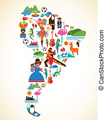Südamerika-Liebe - Illustration mit Vektor-Ikonen