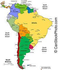 Südamerika mit bearbeitbaren Ländern