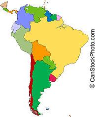 Südamerika mit redaktionellen Ländern
