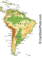 Südamerikanische-physische Karte.