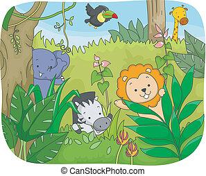 Safari-Tiere spielen.