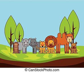Safari verschiedene Arten von wilden Tieren.
