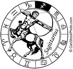 Sagittarius zodiac schwarzweiß.