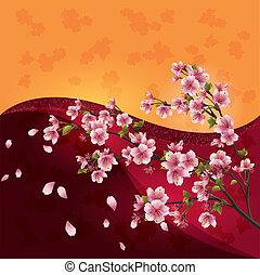 Sakura-Blüten - japanische Kirschbaum auf hellem, bunten Hintergrund, Vektor.