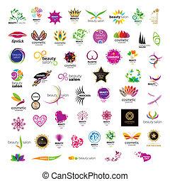 salons, logos, schoenheit, sammlung, vektor, kosmetikartikel