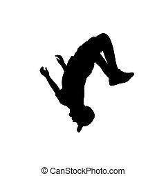 salto, silhouette, flip., sport, springende , teenager, acrobatics.