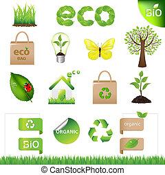 Sammeln Sie Elemente des Ökodesigns und Ikonen