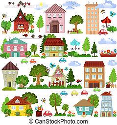 Sammeln Sie Zeichentrickhäuser und Bäume für Sie Design.