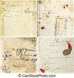 Sammeln von Grunge-Briefbeschwerden mit klassischer Handschrift