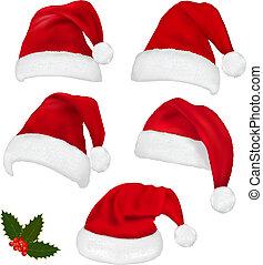 Sammeln von roten Santa-Huten
