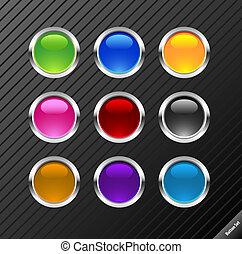 Sammeln von runden Glussy-Vektorknöpfen. Verschiedene Farben, leicht zu schneiden, jede Größe. Aqua Web 2.0 Stil.