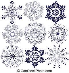 Sammelt Handarbeit von Schneeflocken