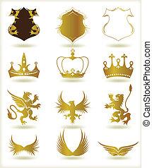 Sammelt heraldische Goldelemente. Vector