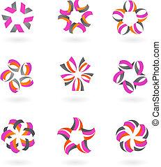Sammlung abstrakter Symbole und Logos - zwei